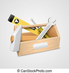 Box with tools. Vector