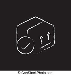 Box with two arrows icon drawn in chalk.