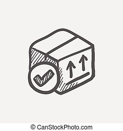 Box with validation mark sketch icon