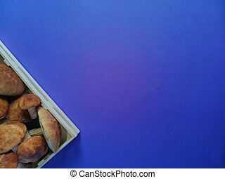 box with wild mushrooms on a blue background to insert text