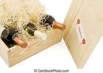 box with wine - wooden box with three bottles of wine