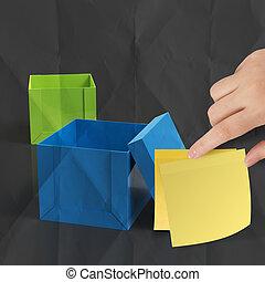 box, zmačkaný, myslící, lepkavý, nota, mimo, noviny