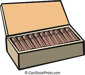 boxas, 10, eps, illustration, vektor, cigarrer
