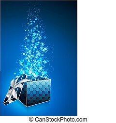 boxas, abstrakt, öppna, kort, gåva
