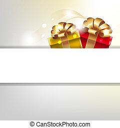 boxas, affisch, remsor, guld, gåva