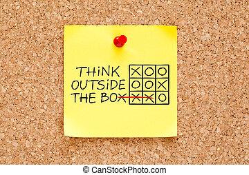 boxas, anteckna, utanför, tänka, klibbig