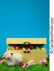 boxas, av, påsk eggar, och, söt, sheep