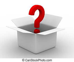 boxas, avbild, question., isolerat, öppna, 3