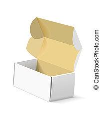 boxas, bakgrund., emballage, vit
