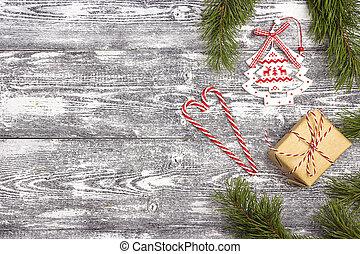 boxas, bakgrund, gåva, utrymme, trä, grå, tex, utsmyckningar, tabell., jul