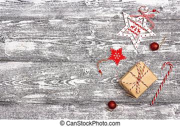 boxas, bakgrund, gåva, utrymme, trä, text., grå, utsmyckningar, tabell., jul
