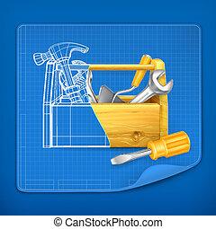 boxas, blå, verktyg, vektor, tryck