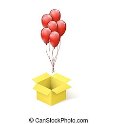 boxas, box., öppna, flygning, gul, vektor, surprise., illustration, sväller