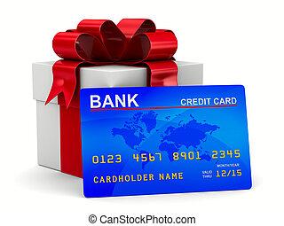 boxas, card., gåva, avbild, isolerat, kreditera, vit, 3