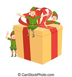 boxas, claus., hjälpreda, gåva, älva, illustration, förberedelse, holiday., jultomten, år, färsk, elves., jul
