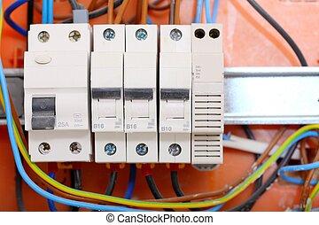 boxas, contactors, sammanslutar, elektrisk, panel
