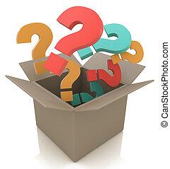 boxas, färga, isolerat, questions., öppna, avbild, 3