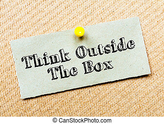boxas, Fastklämd, begrepp, Återvinn, bord, tänka, avbild, kork, anteckna, meddelande, utanför, papper