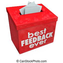 boxas, feedback, idéer, comments, förslag, insats, någonsin...