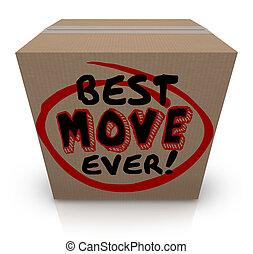 boxas, flyttning, emballage, gripande, nytt hem, papp, ...