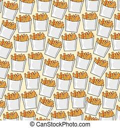 boxas, food), mönster, fräsa, fransk, papper, bakgrund, (fast