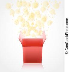 boxas, gåva, öppning, glödande, vektor, glitter., överraskning, röd