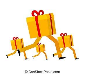 boxas, gåva, gåva, jul, illustration, vektor, delivery., färsk, jul, runs., running., år