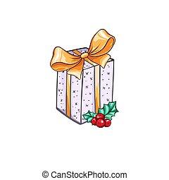 boxas, gåva, illustration, jul, år, färsk, eller