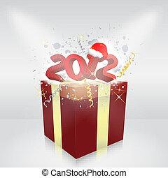 boxas, gåva, illustration, vektor, år, 2012