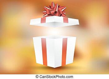 boxas, gåva, insida, vektor, överraskning, öppna