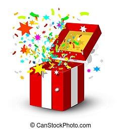 boxas, gåva, isolerat, bakgrund, konfetti, överraskning, vit, öppna, röd