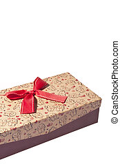 boxas, gåva, isolerat, band, bakgrund, vit, jul, röd