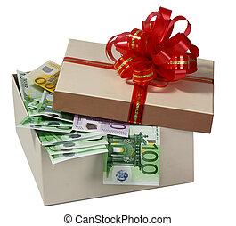 boxas, gåva, pengar.