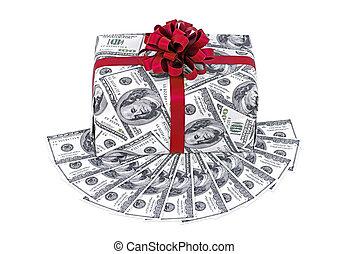 boxas, gåva, pengar, dollars, band, stack, röd