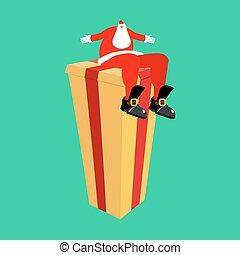 boxas, gåva, sittande, isolated., claus, illustration, vektor, jultomten, år, färsk, jul