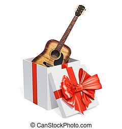 boxas, gåva, trä, gitarr, framförande, 3