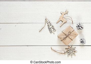 boxas, gåva, utrymme, trä, årgång, text., utsmyckningar, vit, tabell., jul