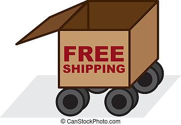 boxas, gratis, skeppning