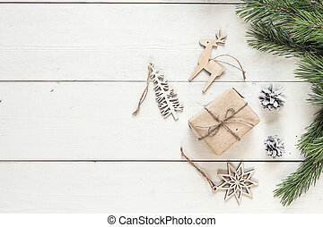 boxas, grenverk, gåva, utrymme, trä, årgång, text., fura, utsmyckningar, vit, tabell., jul