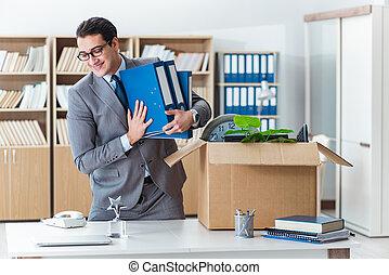 boxas, hans, kontor, gripande, tillhörigheter, man