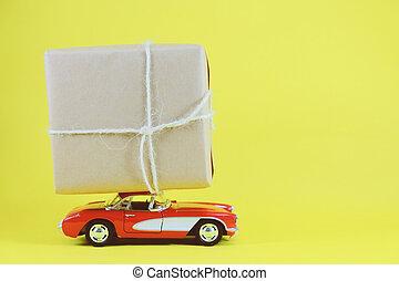boxas, helgdag, leksak, gåva, utrymme, bil, gul, leverera, retro, bakgrund, krydda, avskrift, röd