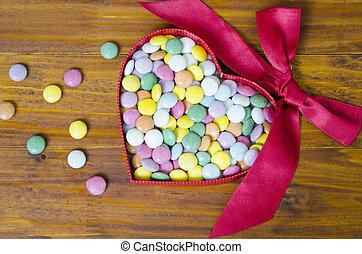 boxas, hjärta, färgrik, format, choklad, biljard
