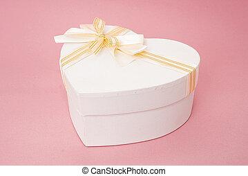 boxas, hjärta, gåva, rosa remsa, yta