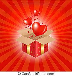boxas, hjärtan, röd, gåva