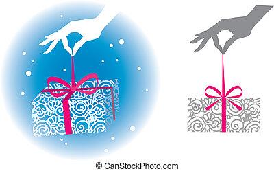boxas, holdingen, gåva, hand