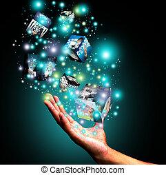 boxas, holdingen, virtuell, hand