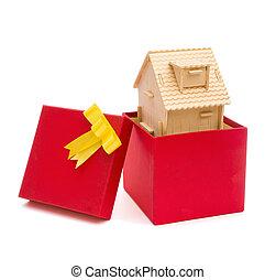 boxas, hus, klippning, gåva, bana
