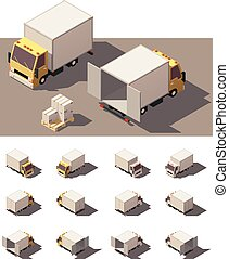 boxas, isometric, sätta, vektor, lastbil, ikon