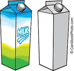 boxas, kartong, mjölk