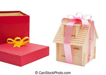 boxas, klippning, hus, band, besides, svept, bana, gåva